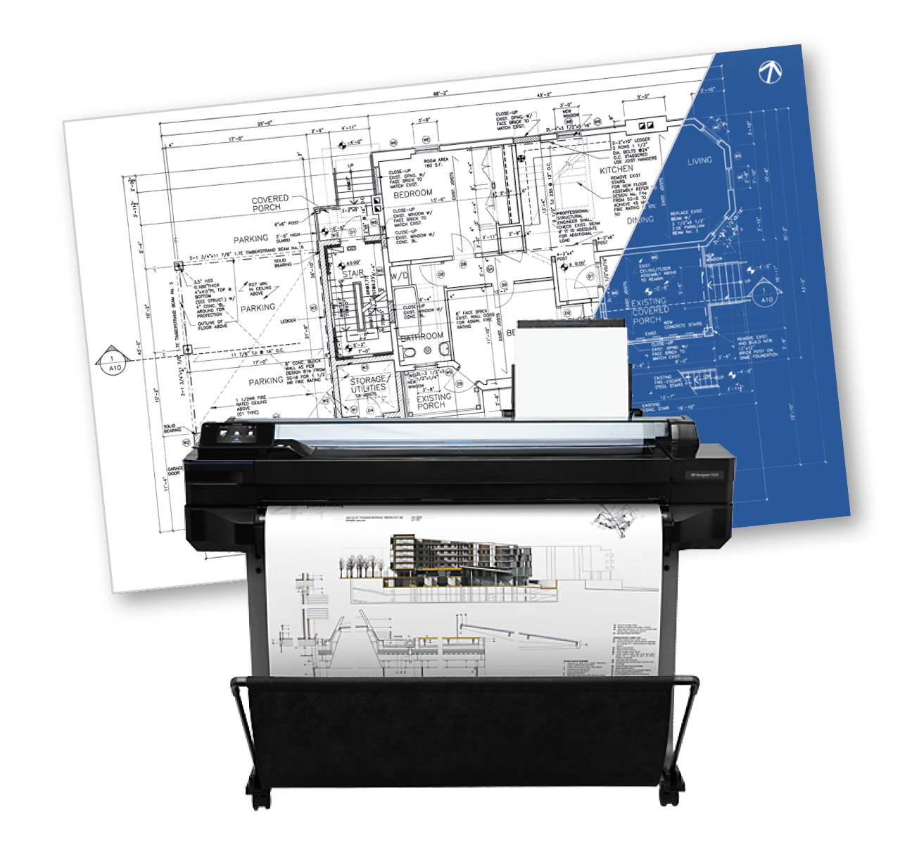 A blueprint is replaced with a blackline behind a large format plotter