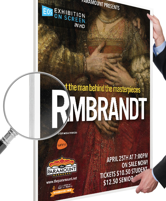 a closeup on the edge of a poster for Rembrandt The Man Behind the Masterpieces giving a closeup look at the effects of mounting the poster on foamcore